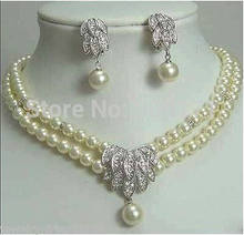 Free Shipping>>>>>Jewelery Pearl Necklace Earring SET(China)
