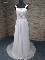 2015 New Free Shipping Sexy Spaghetti Strap Beading Chiffon White Ivory Wedding Dresses With Train In