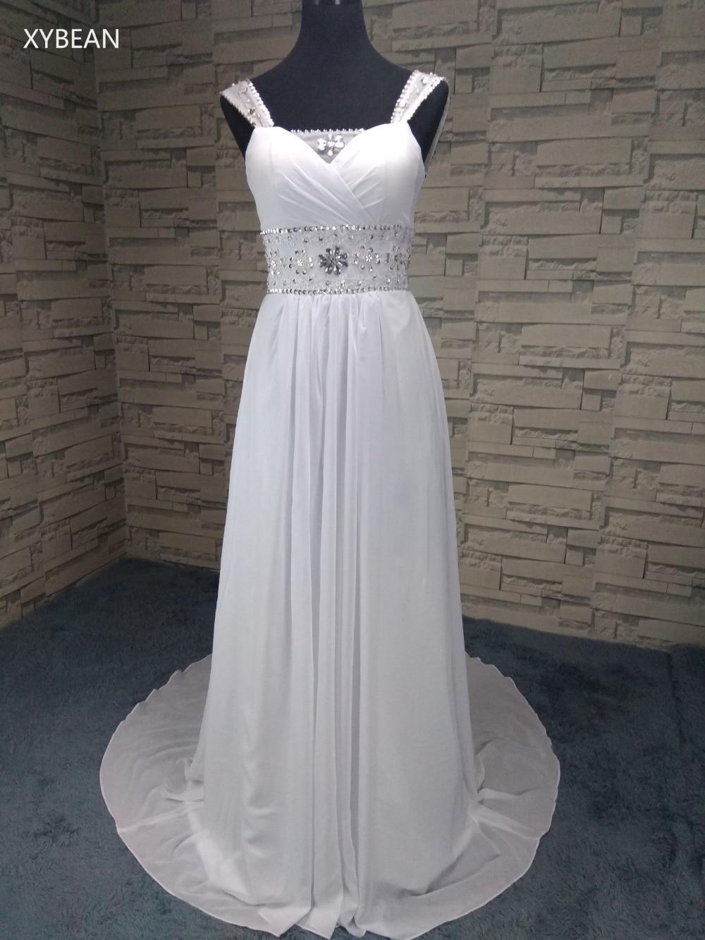 Bebas biaya kirim ! 2018 New Sexy Spaghetti strap Wedding Dresses Manik-manik Chiffon pantai Dengan Kereta FS1003