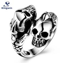 Vintage halloween styles skull men ring bikers jewelry Stainless steel cool fashion finger accessory in antique silver
