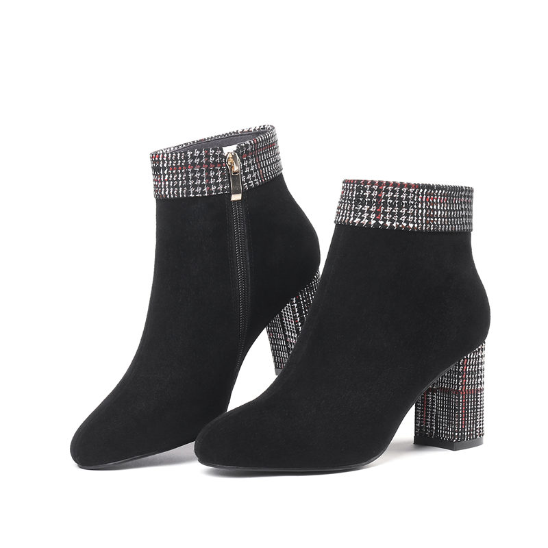 Moonmeek Chaussures Mélangées Bottes Unique Daim Rouge 2018 Ronde Talons Arrivent Nouveau Cheville Dames Femme blanc Noir En Couleurs Cuir Populaire 1Uar1Mq