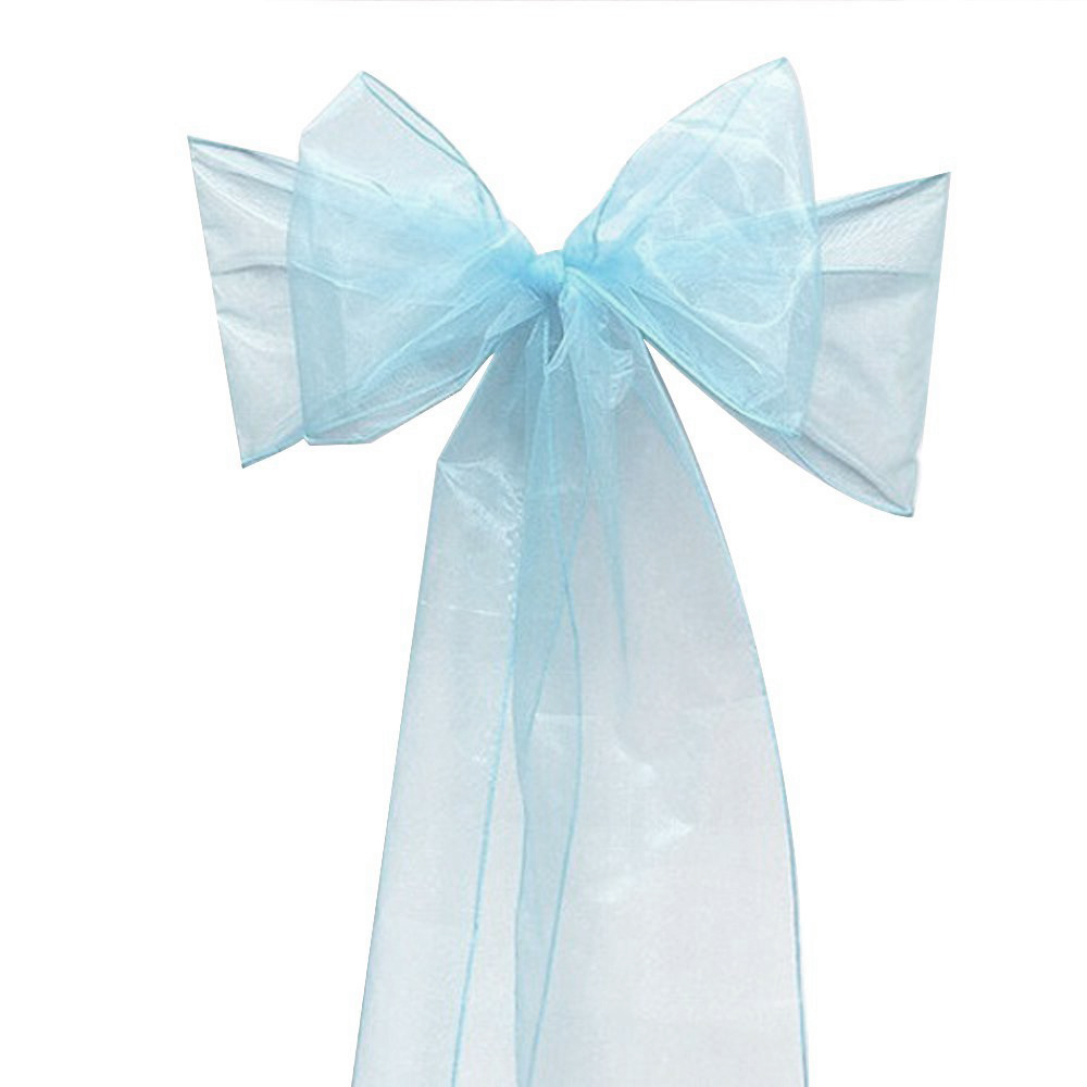 100 PCS light blue Wedding Organza Chair Cover Sashes Sash Party Banquet Decor Bow ,best quality and lowest price free shipping