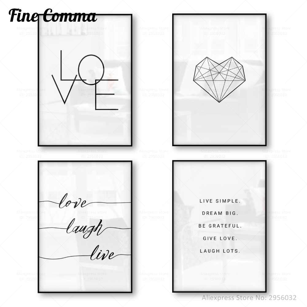 Nordic Style Home Decoration Love Poster Live Laugh Motivational Quotes Poster Scandinavian Wall Art Canvas Print Minimalism Art