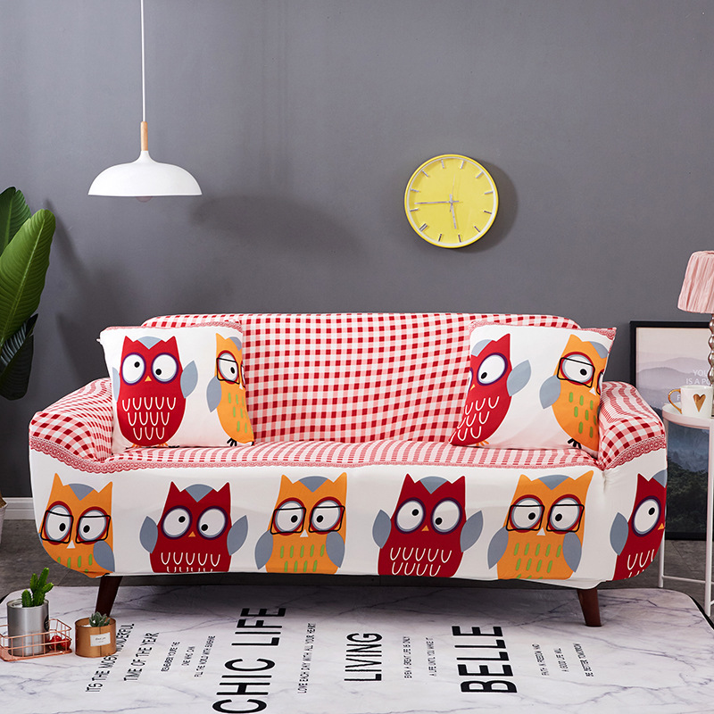 Owl Cat Fish Floral Print Modern Strech Sofa Covers for living room Elastic Sofa Towel Furniture Protector Love seat Couch Cover