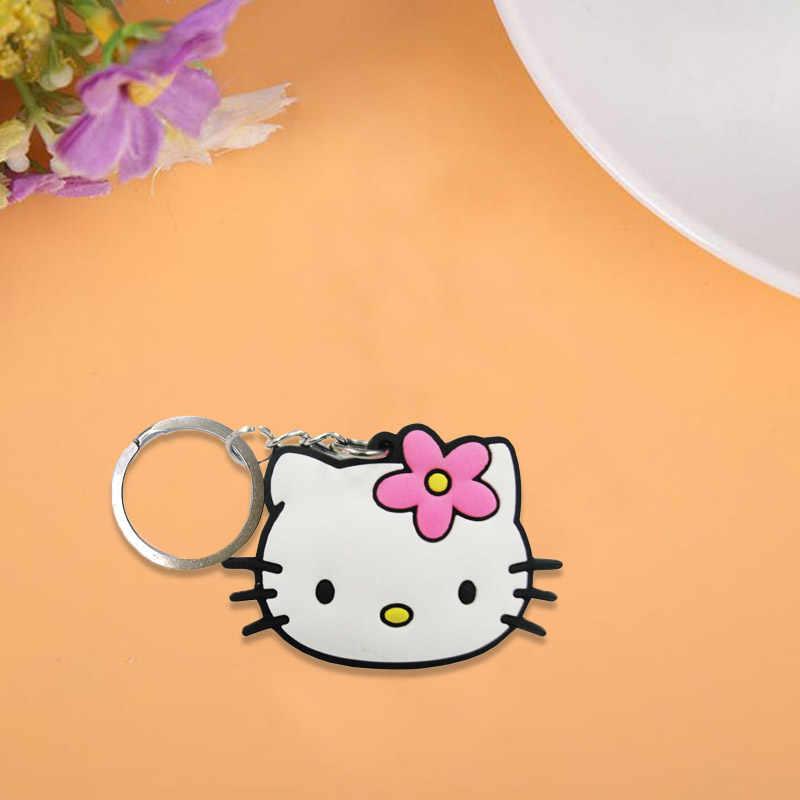 3 pçs/lote Olá Kitty Bonito Dos Desenhos Animados PVC Chaveiros Chave Anéis Para Crianças Presente Para As Mulheres Meninas Saco de Jóias Pingente porte clef
