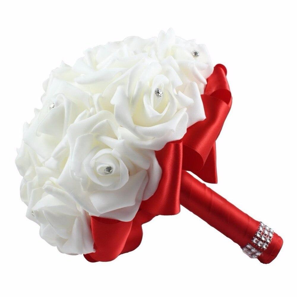 Bouquet Sposa Economico.Us 7 2 40 Di Sconto Disponibile Elegante Economici Nastro Di Seta Artificiale Fiori Da Sposa Bouquet Sposa Wedding Bouquet Di Cristallo In