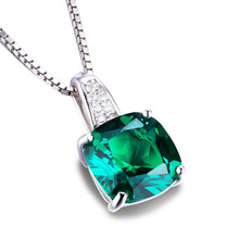 JewelryPalace Cushion 3.4ct Created Emerald Solitaire Pendant 925 Sterling Silver Jewelry