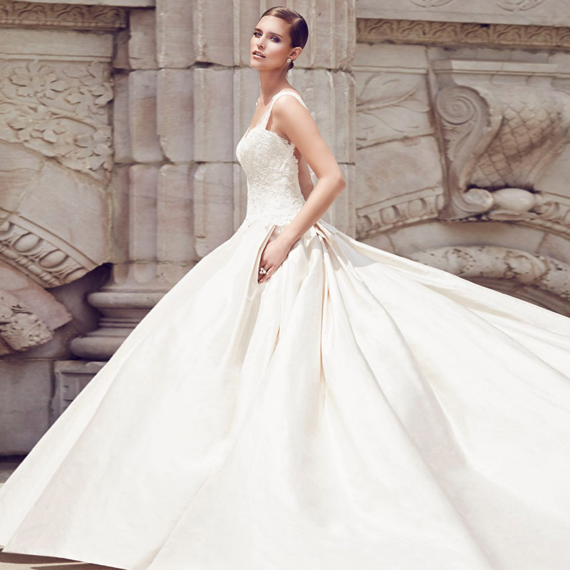 Silk Taffeta Wedding Gowns: Gorgeous 2016 Appliqued Silk Taffeta Wedding Dresses A