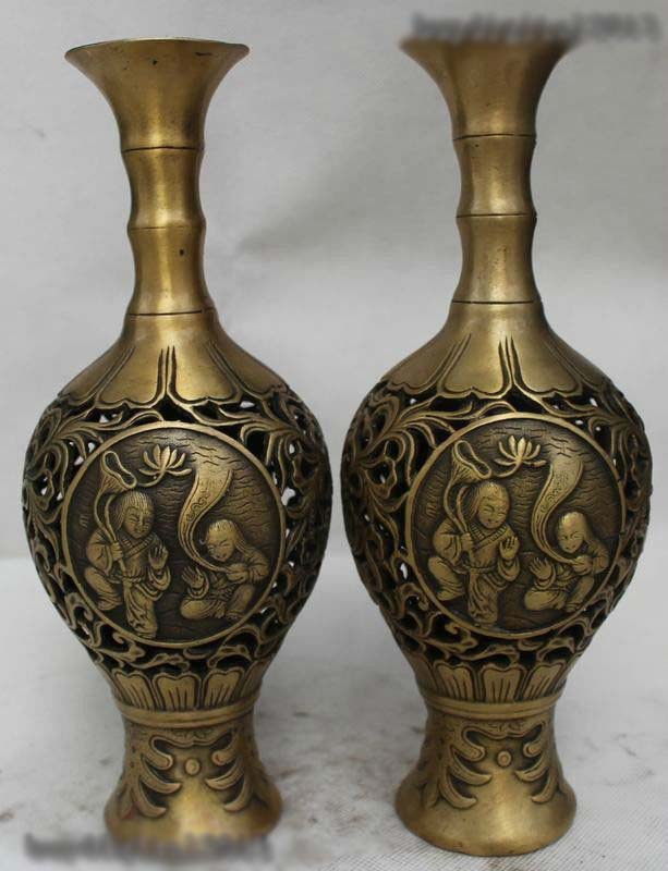 10Chinese Dynasty Folk Palace Bronze beautiful Two Boy Bottle Vase Statue Pair10Chinese Dynasty Folk Palace Bronze beautiful Two Boy Bottle Vase Statue Pair