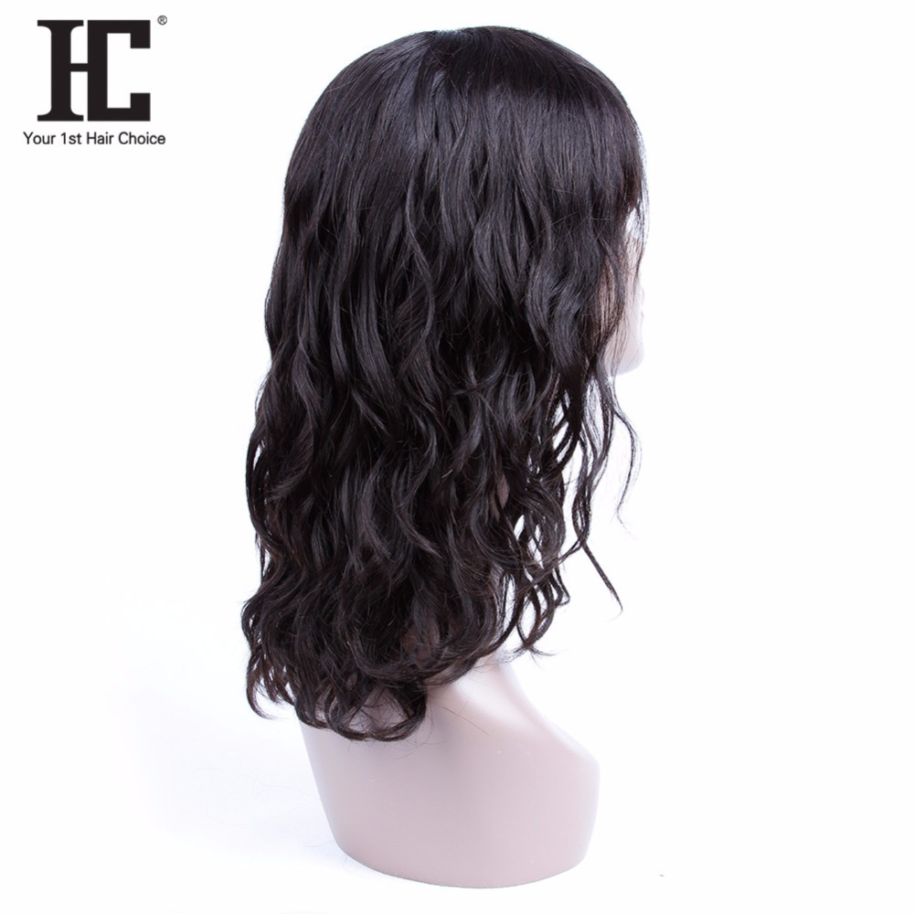 HC Wigs Brazilian-Hair Non-Remy 18inch Natural Black Women for Wave Fashion-Style