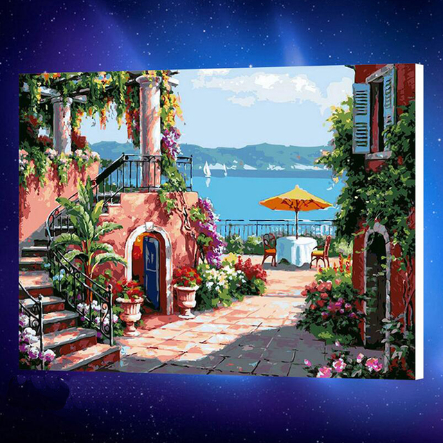 Mediterrane Gemälde 50x65cmpictures malerei durch zahlen diy digitale leinwand ölgemälde