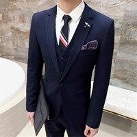 High Quality Black Tuxedo Men Suit Black 3 Pieces Mens Formal Suits Costume Homme Dark Blue