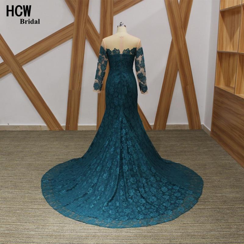 Elegant Långärmad Aftonklänning Mörkgrön Sjöjungfrun Lace - Särskilda tillfällen klänningar - Foto 2