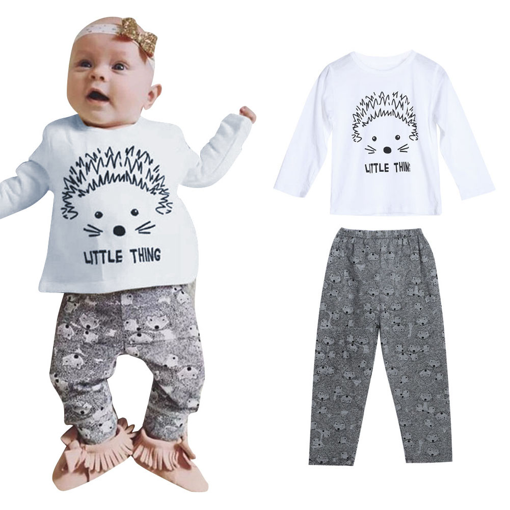 2pcs/Set Baby Kids Infant Spring Autumn Clothes Set Hedgehog Print Long Sleeve Tops+Pants Baby Casual Outfit Set For 0-18Months infant baby boy girl 2pcs clothes set kids short sleeve you serious clark letters romper tops car print pants 2pcs outfit set