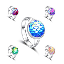 11 Colors Mermaid Scale Faux Drusy Druzy Ring Imitation Crystal Stone Silver Color Rings Adjustable Brand Jewelry for Women