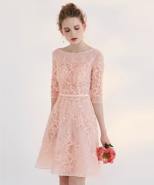 New Style A-Line Organza Scoop Three Quarter Cocktail Dresses Cap Sleeve Appliques Lace Sashes Formal Dress Party Ball Gowns