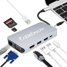 USB C HDMI Hub 3.0 rj45 Adapter Type VGA Converter with TF SD Card Reader PD Charger for MacBook Huawei P20