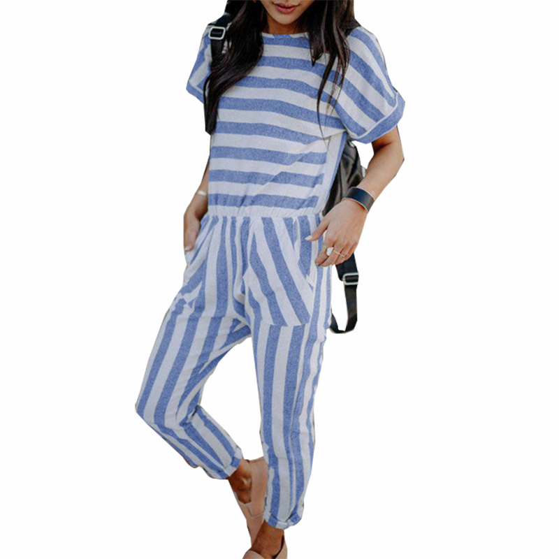 Pockets Femme Summer Striped Jumpsuits Women Short Sleeve Rompers Back Zipper Elastic Waist Casual Plus Size Sexy Overalls GV506