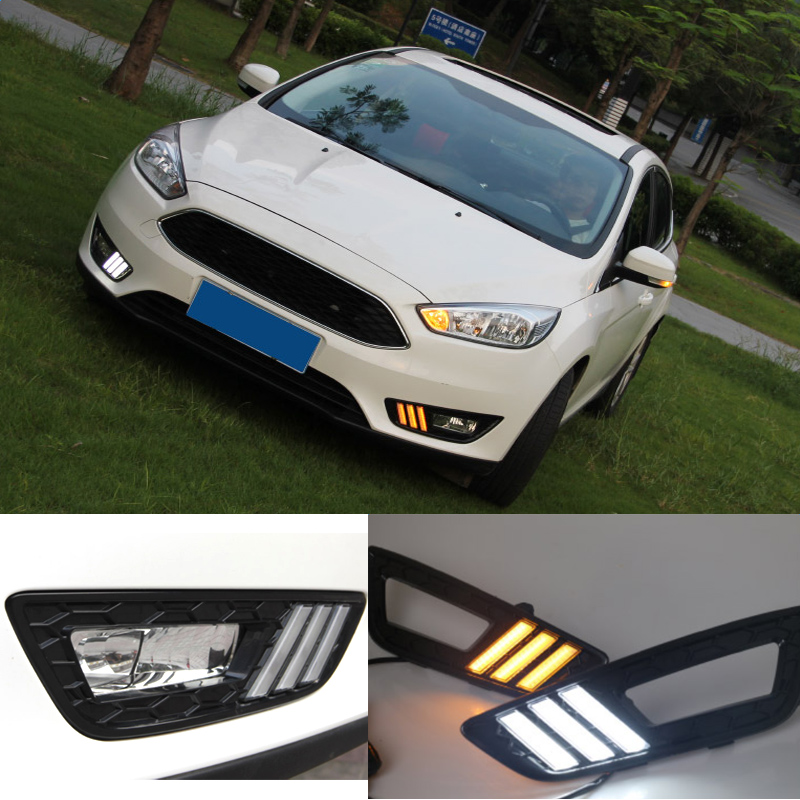 12v LED DRL Daytime Running Light For Ford Focus 4 2015 2016 Turn Signal and Dimming Style Relay Auto Car Bumper Front Fog Lamp turn off and dimming style relay led car drl daytime running lights for ford kuga 2012 2013 2014 2015 with fog lamp