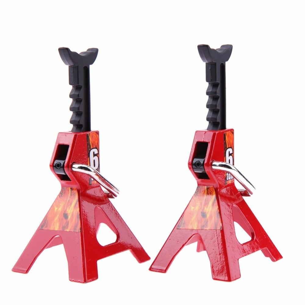 2 pcs Simulation 6 Ton Métal Échelle Réglable Hauteur Métal Jack Stands Pour Axial SCX10 TAMIYA CC01 D90 D110 TF2 RC Camions