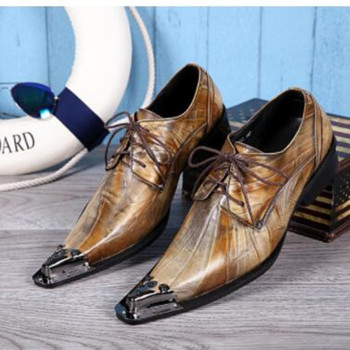 Sapato masculino brown hidden heel oxford shoes for men metal toe lace up business prom office dress male shoes plus size