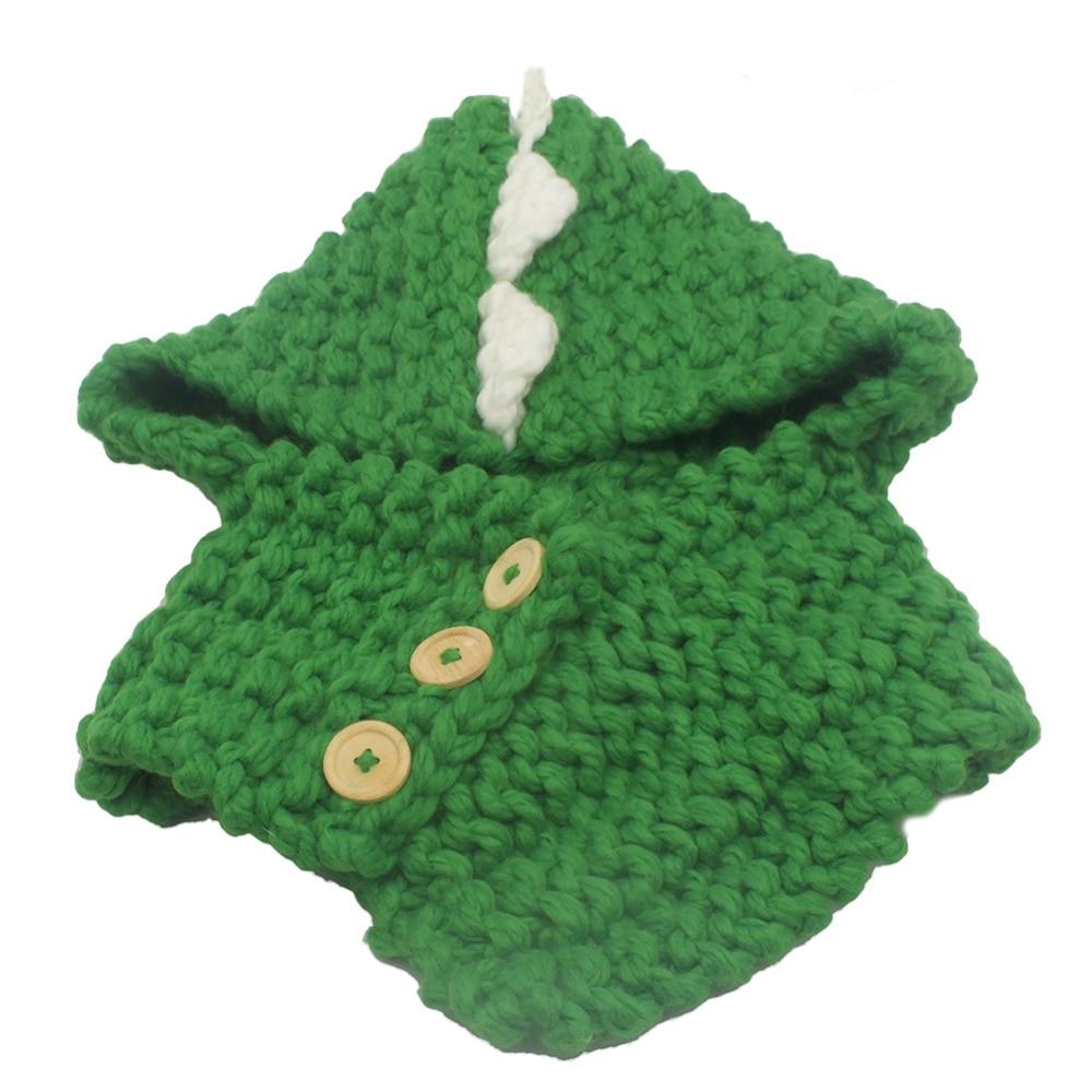 Knitted Hat Girls/Boy Toddler Kids Winter Dinosaur Hooded Scarf Hat Wool Knitted Crochet Cartoon Cap Soft Green&Yellow 3-8 Years