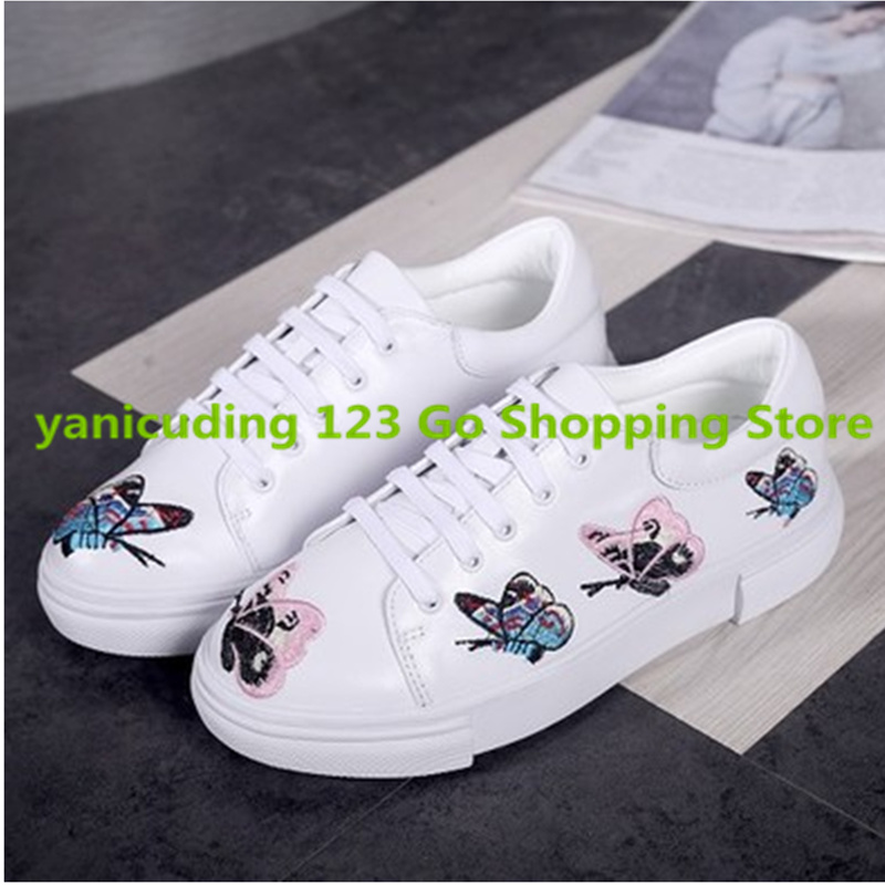 White Leather Lace Up Women Shoes Low Top Lady Flats Loafers Colorful Butterfly Embroidered Design Zapatillas Deportivas Mujer vintage embroidery women flats chinese floral canvas embroidered shoes national old beijing cloth single dance soft flats