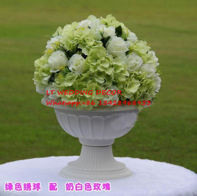 Us 258 0 10pcs Lot Green Wedding Table Decoration Road Lead Artificial Wedding Table Flowers Centerpiece Flower Balls For Roman Pots In Artificial