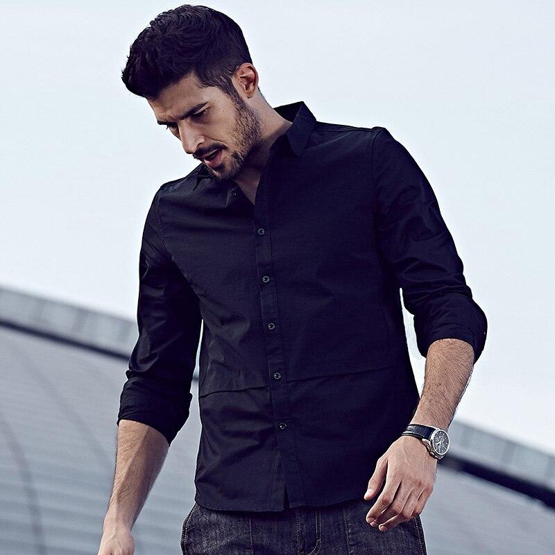 KUEGOU Jesenske moške priložnostne majice Patchwork črna barva - Moška oblačila - Fotografija 2