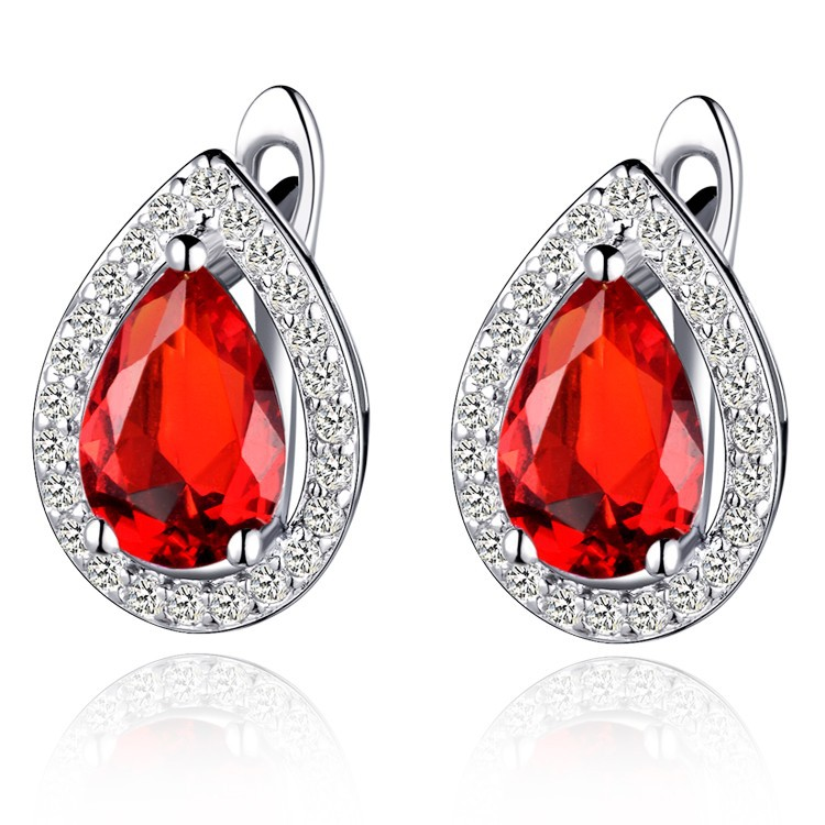 Vintage and Classic Necklace/Ring/Earrings Red Water Drop Zircon White Gold Jewelry Sets Women Party Festival Gifts T247-6#