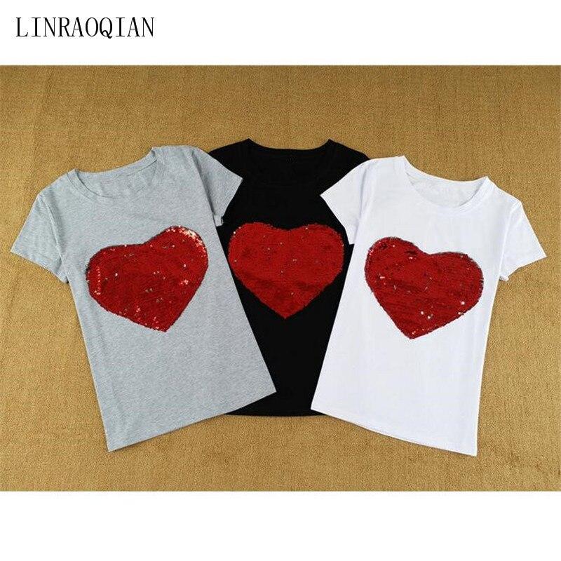 LINRAOQIAN Harajuku Korean Style Slim Fit T Shirt Women Tops Heart Sequin  Top Tshirt Women Summer Cotton Tee Shirt Femme Clothes-in T-Shirts from  Women s ... 33412f5d41ad