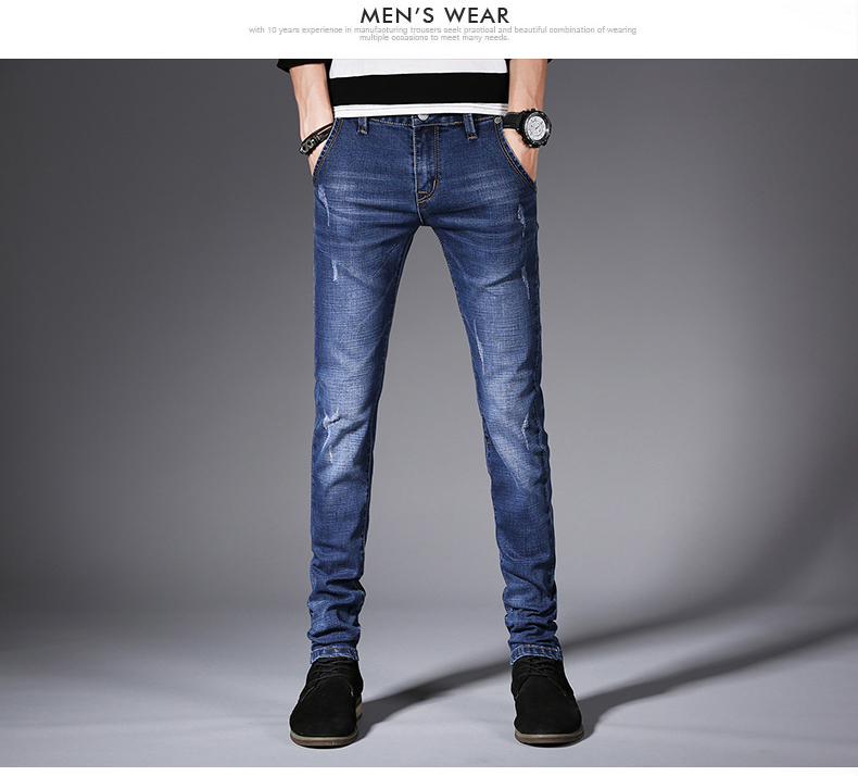 KSTUN Men's Jeans Quality Brand Fashion Stretch Pencils Pants Casual Yong Man Skinny Slim Fit Blue