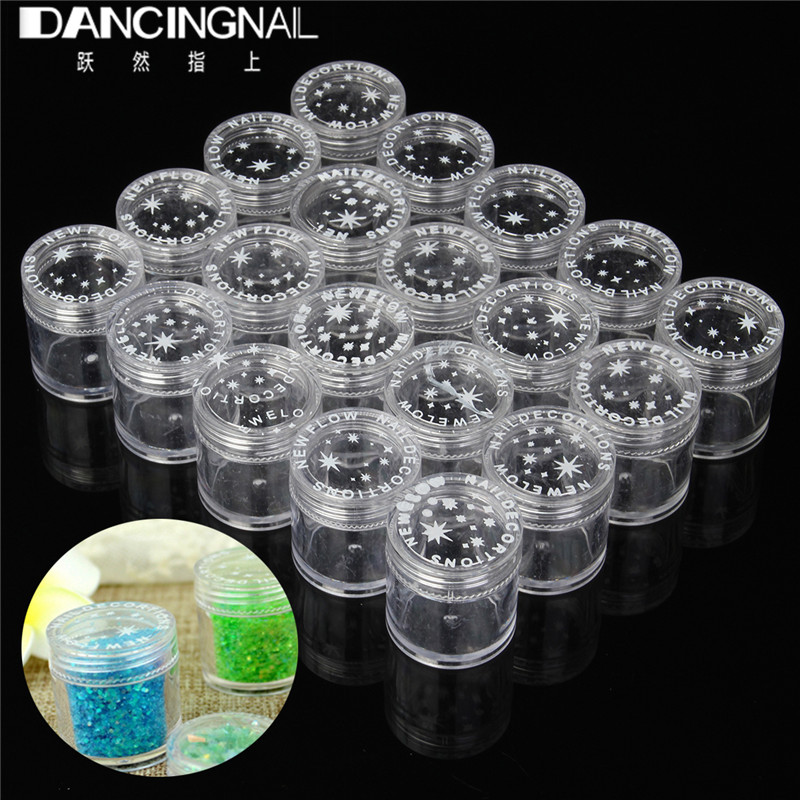 20/50pcs 10g Empty Plastic Makeup Nail Art Bead Storage Container Portable Cosmetic Cream Jar Pot Box Round Bottle Transparent miles kimball flour bag plastic storage container
