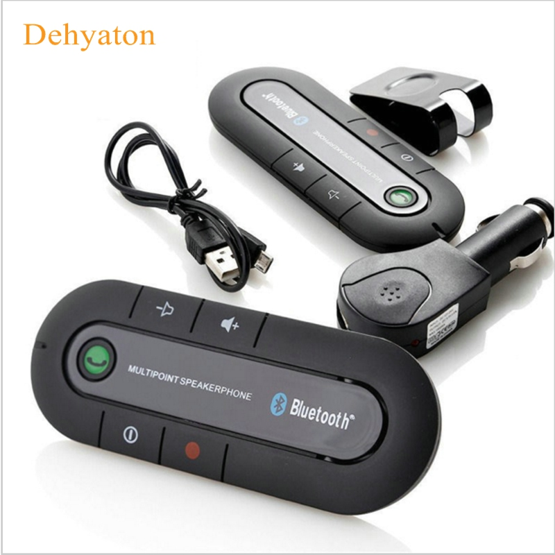 2018 Speakerphone Hands Free V4.1 EDR Sun Visor Bluetooth 4.1 Car Kit Handsfree Receiver Music Aux Speaker for Phone Smartphones solar bluetooth v4 0 edr handsfree car kit