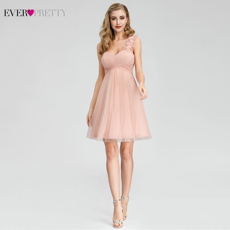 Vestido Madrinha Ever Pretty Sexy Short Pink Bridesmaid Dresses A-Line One Shoulder Elegant Sparkle Dresses For Wedding Party