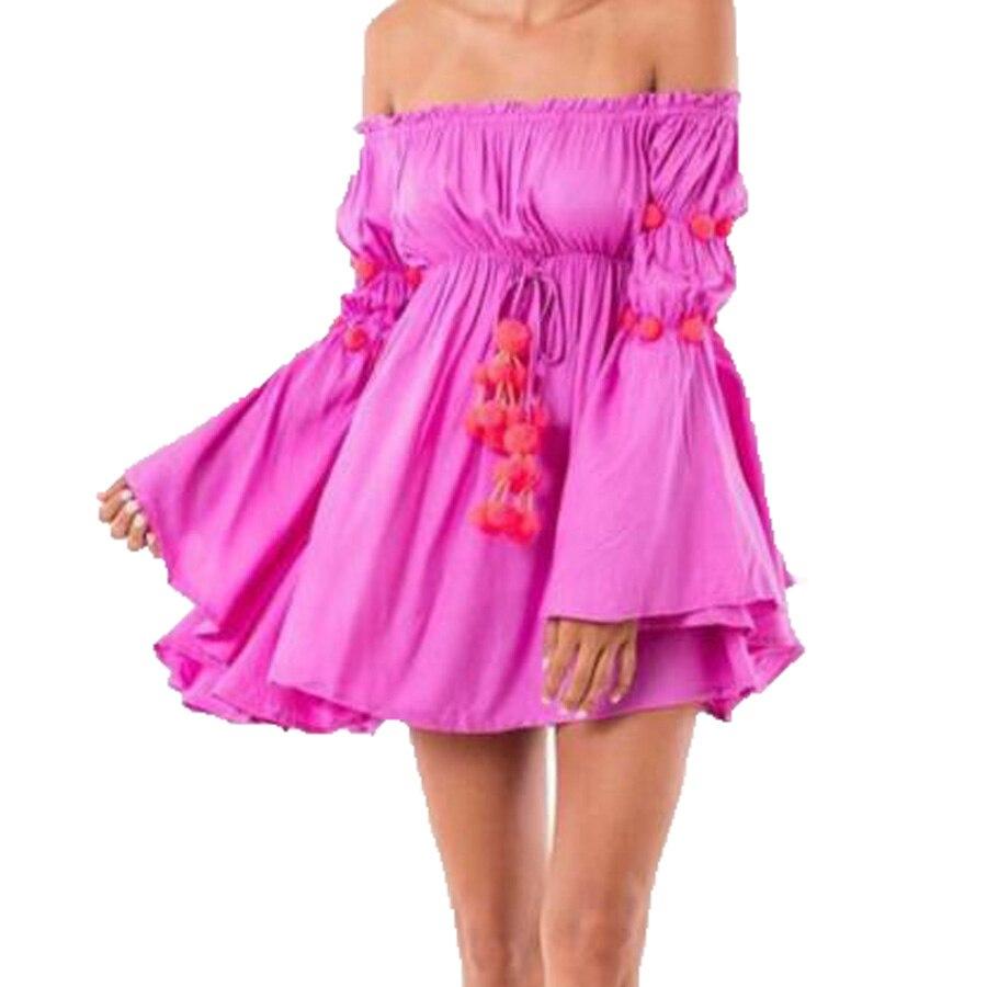 2019 letní šaty ženy off ramena dlouhý plamen rukáv solidní mini party šaty volánky sexy plážové šaty tunika župan Femme