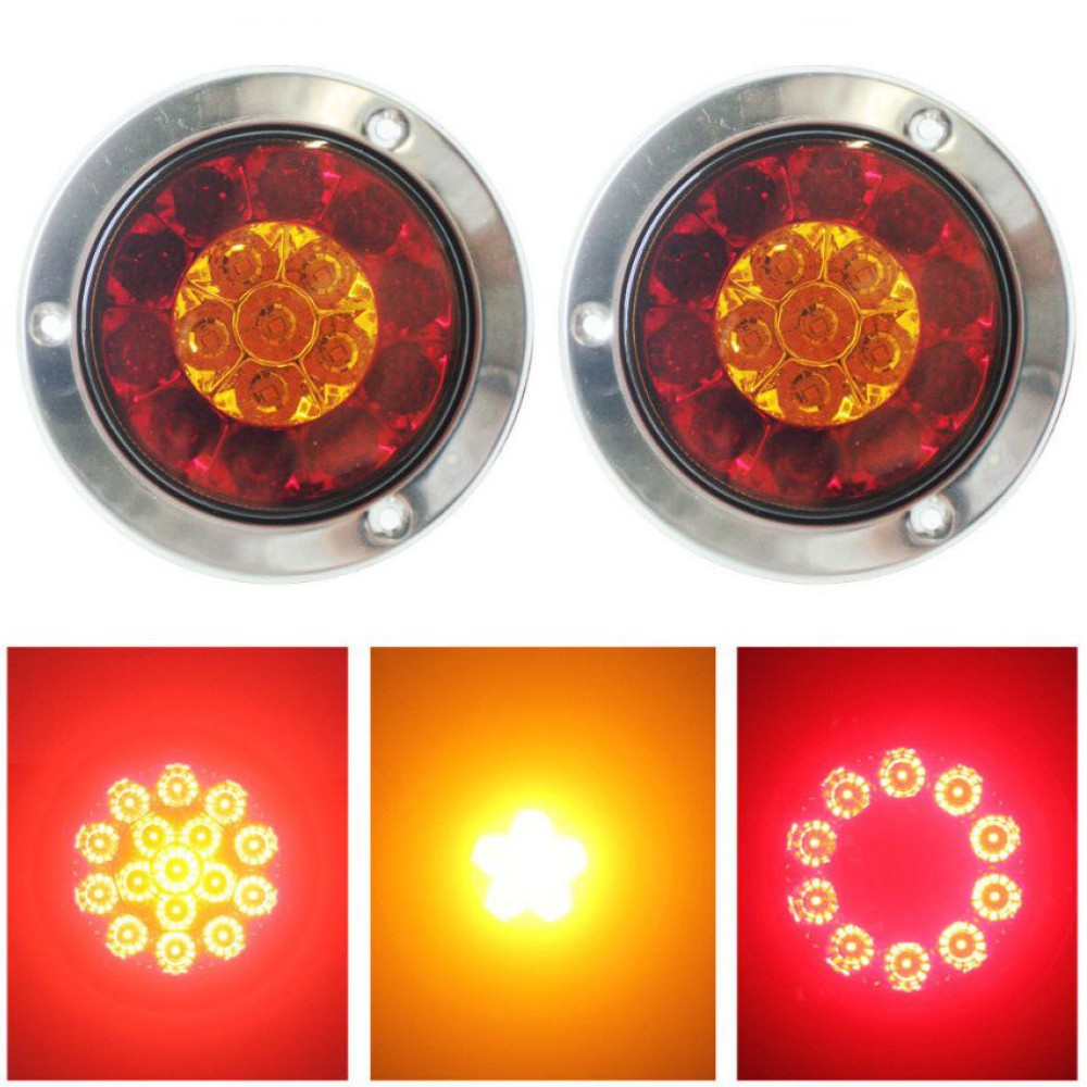 Fuleem 2PCS 4INCH Round Chrome Ring 16LED Red And Yellow Truck Trailer Brake Stop Turn Tail Light DC 12V Universal