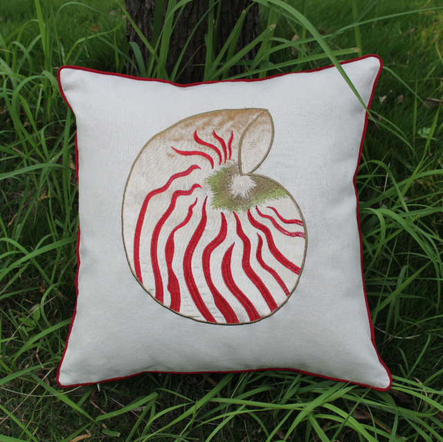 VEZO HOME Embroidered Nautilus Sea Snail Shell Linen Sofa Cushions Throw  Pillows Chair Seat Home Decoration