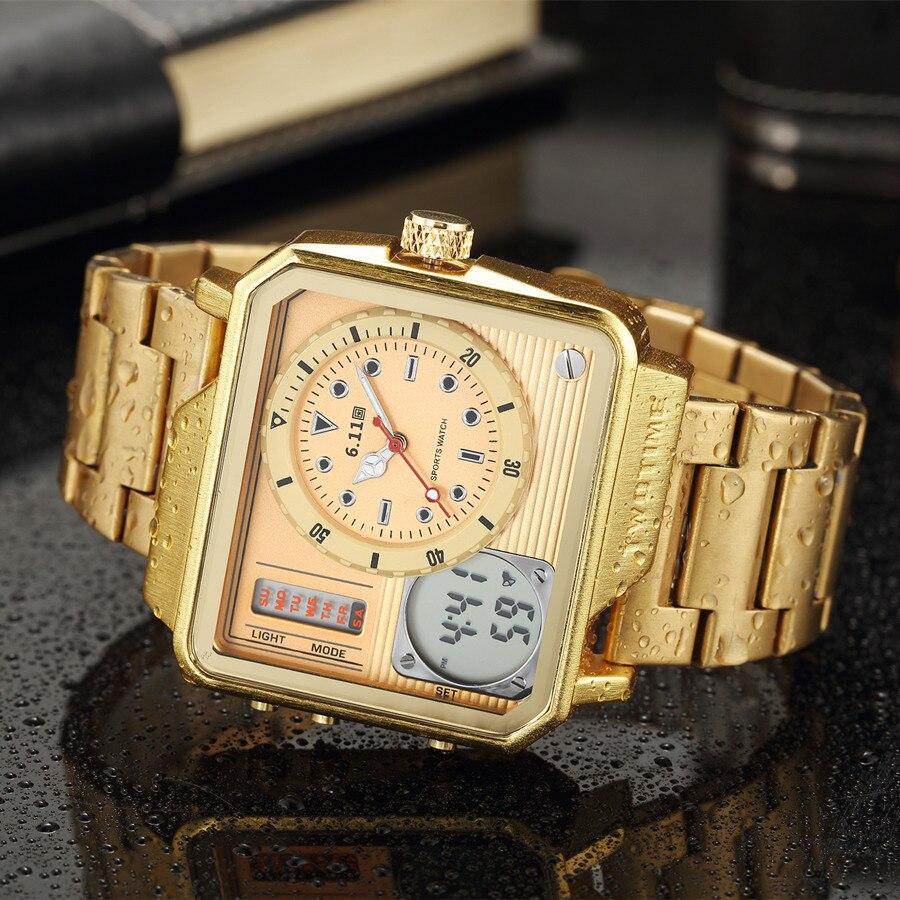 6.11 2018 nouvelles montres hommes montre carrée en acier inoxydable Quartz Reloj Hombre 2018 rétro éclairage double fuseau horaire Relogio Masculino-in Montres digitales from Montres    1