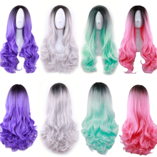 цены на Fashion Cheap Black Purple Green Pink Silver White Ombre Wig Long Wavy Synthetic Hair Halloween Costume Woman Wigs For Party  в интернет-магазинах