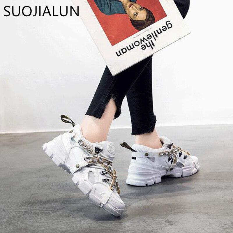SUOJIALUN/2018 г. Новые Брендовые женские кроссовки, Зимние Модные Удобные повседневные лоферы на платформе со шнуровкой и круглым носком