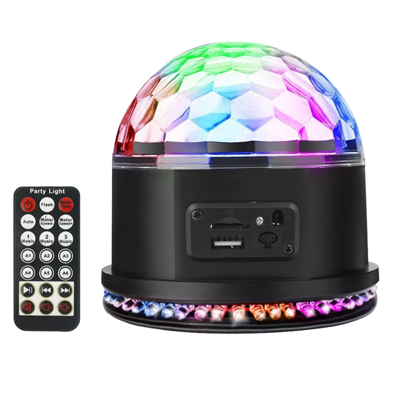 Disco Ball Party Light Rgb Mp3 Crystal Magic Ball Sound Activated Dj Lights Mini Rotating Strobe Stage Lights With Remote Cont