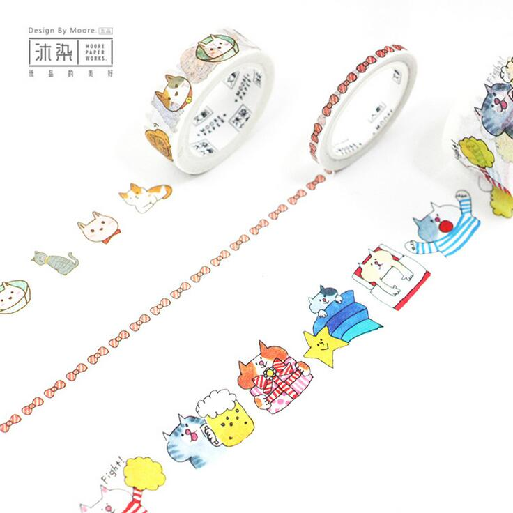 3 Pcs/pack Saty With Cat Good A Day Decorative Washi Tape DIY Scrapbooking Masking Tape School Office Supply Escolar Papelaria