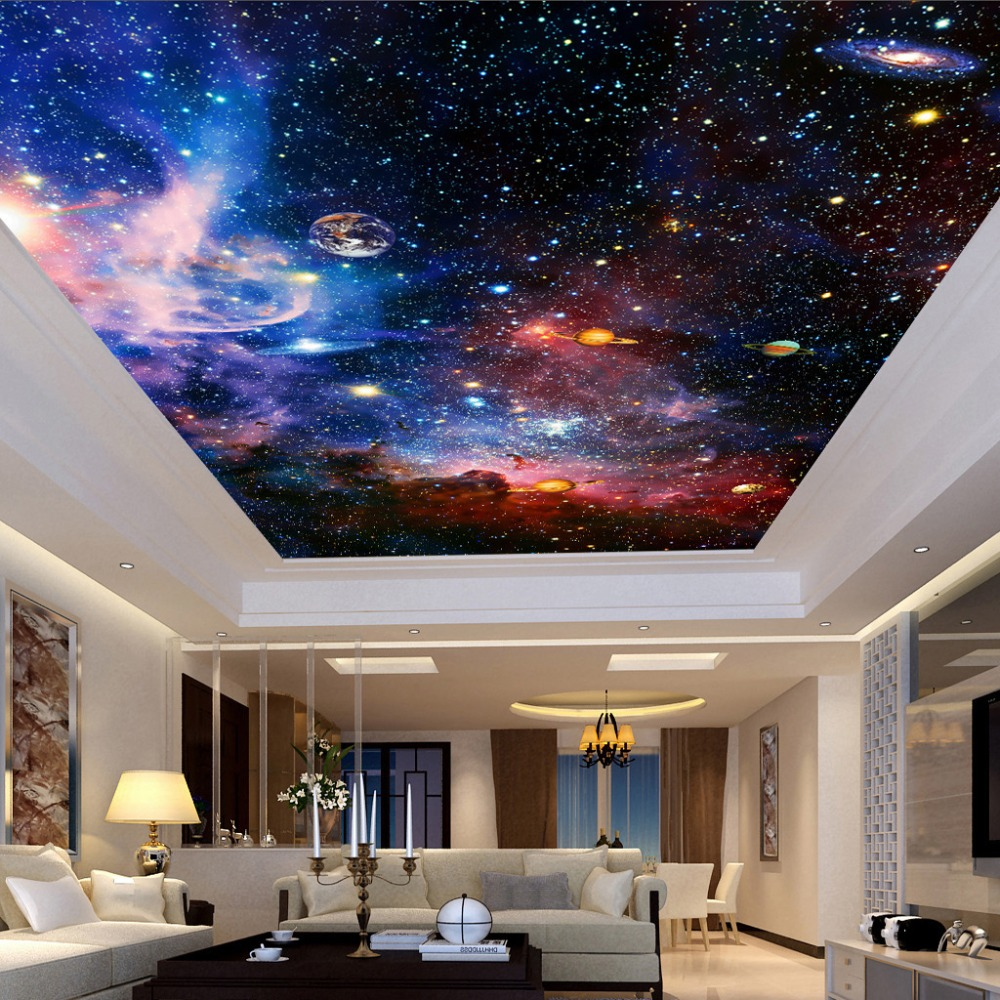 Custom Photo Wallpaper Universe Star Sky Living Room Ceiling Fresco European Style Home Decoration Wall Art Ceiling Wallpaper 3D custom 3d stereo ceiling mural wallpaper beautiful starry sky landscape fresco hotel living room ceiling wallpaper home decor 3d