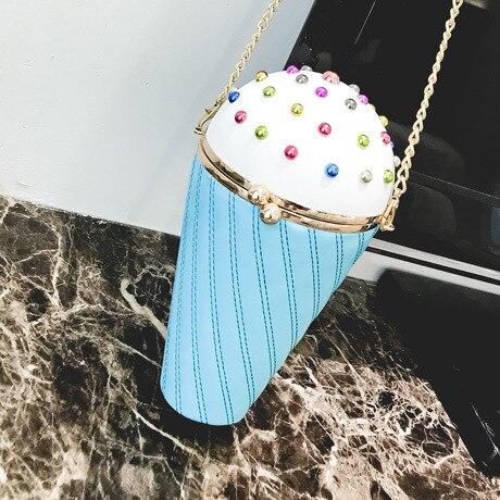 Persenality Design Bonito Cupcake Ice Cream Forma Dos Desenhos Animados Sacos Crossbody Cadeia de Moda PU Feminino Pequeno Mini Bolsa de Ombro