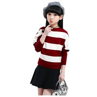 Spring Clothes New Pattern Girl Knitting Unlined Upper Garment Bat Loose Sweater Stripe Kids Clothing
