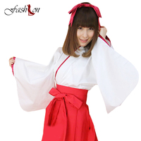 Dress Women Cosplay Kimono Lolita Sweet Dress Famous Kyoko Cosplay Japanese Witch Miko Costume Halloween Costumes