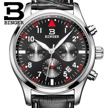 Switzerland BINGER men's watches luxury brand Quartz waterproof leather strap clock Chronograph Stop Watch Wristwatches B9202-10