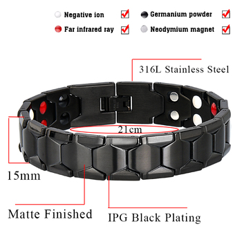 LITTLE FROG Health Magnetic Therapy Bracelet Men Jewelry Black 1