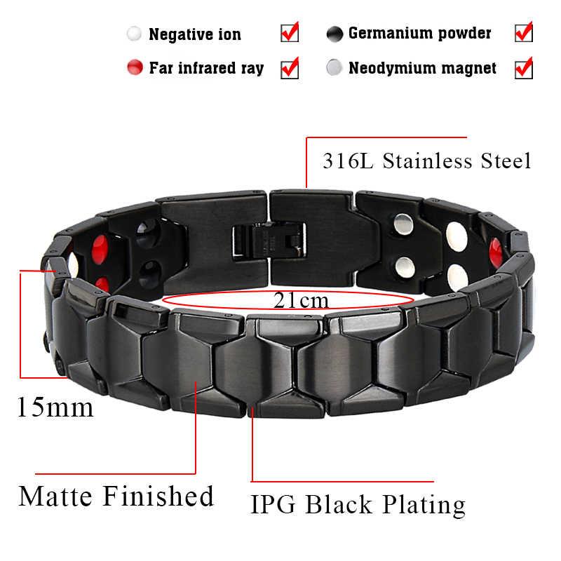 Маленькая лягушка здоровье браслет для магнитотерапии мужские ювелирные изделия черный 316L нержавеющая сталь 4 браслеты из элементов & Браслеты 10239